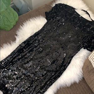 A.J. Bari Black Sequin Dress